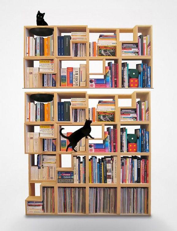 Desain Furniture Kreatif Ramah Kucing - Rak-Buku-Ramah-Kucing