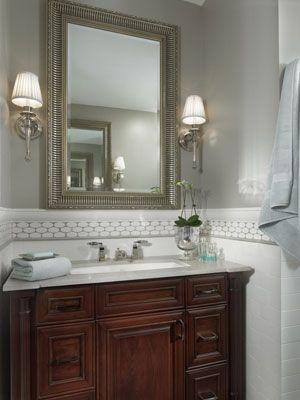 bathroom: Get In Shape, Bath Lights, Decor Ideas, Bathroom Sconces, Tile Bands, Subway Tile, Houses Ideas, Mirror Tile, Bathroom Ideas