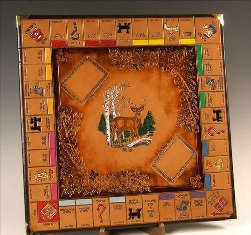 Monopoly Board With Tooling. Leather, cool monopoly board to have at cabin! All pieces should be woodland/lake themed