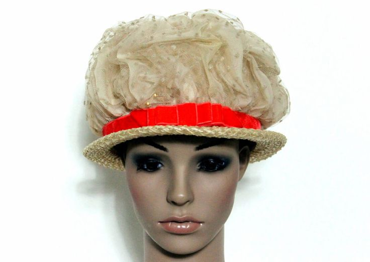 Vintage Hat// 1960's //  Netting // Orange Hat Band// Straw Hat// Velvet Trim // Garden Party Hat// 60's Hat// by ByMidnightSparkle on Etsy https://www.etsy.com/listing/554575631/vintage-hat-1960s-netting-orange-hat