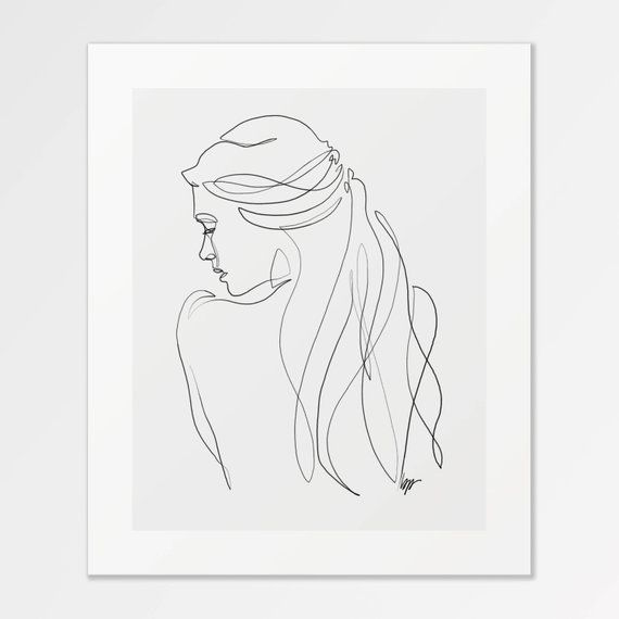 Renée – Fine Art Print of One Single Line Illustration – Kathleen Gerlach