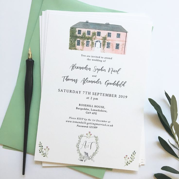 Hand Painted Wedding Invitation Featuring Custom Crest And