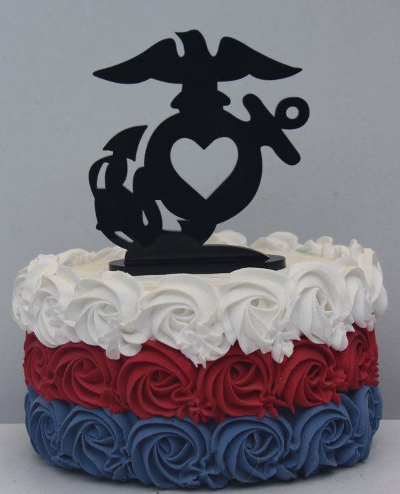 Military USMC Marine Corps Heart  Wedding Cake topper Groom EGA  groom cake