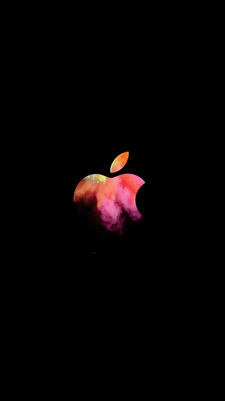 APPLE MAC EVENT LOGO DARK ILLUSTRATION ART WALLPAPER HD IPHONE