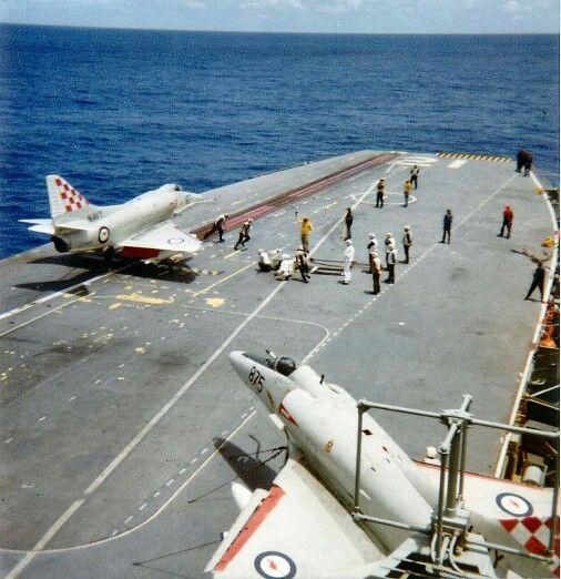 RAN Aircraft Carrier Melbourne flight deck.. Skyhawk A4 Aircraft