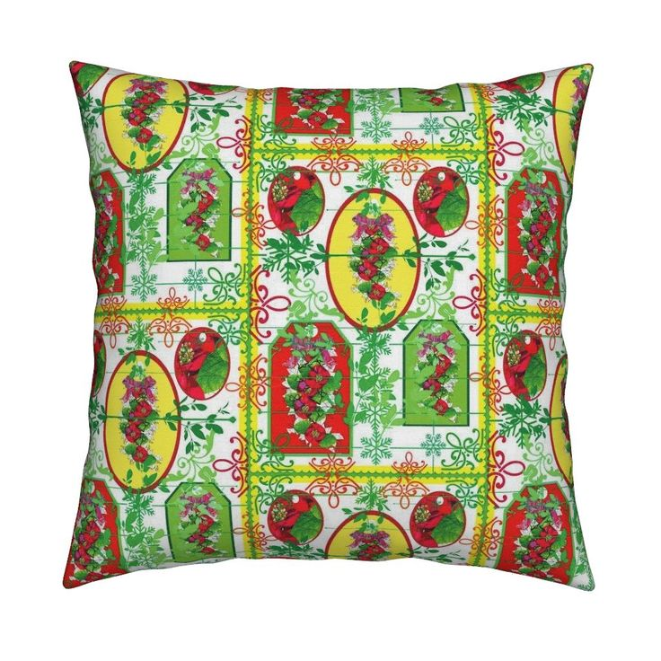 Catalan Throw Pillow featuring Poinsietta and the colours  of Christmas  by vondy | Roostery Home Decor