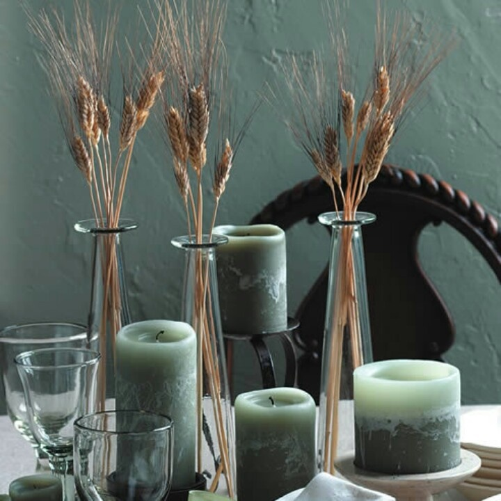 Wheat and rustic candle centerpiece wedding ideas