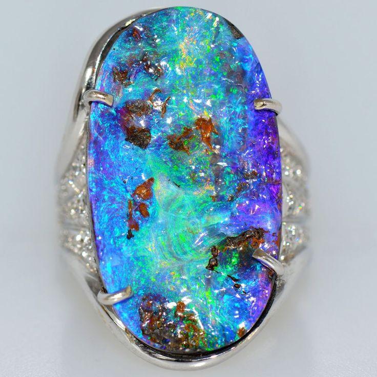 Large 17 Ct Vivid Australian Opal Diamond Ring 18k White