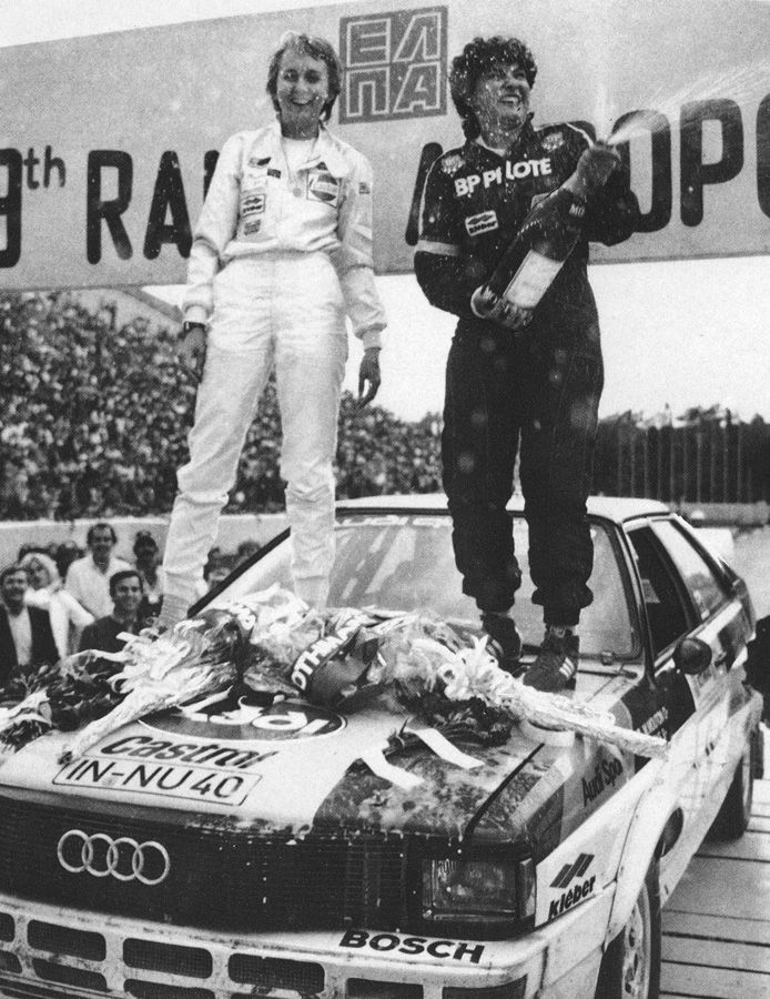 Michelle Mouton and Fabrizia pons celebrating on the hood of Audi Quattro