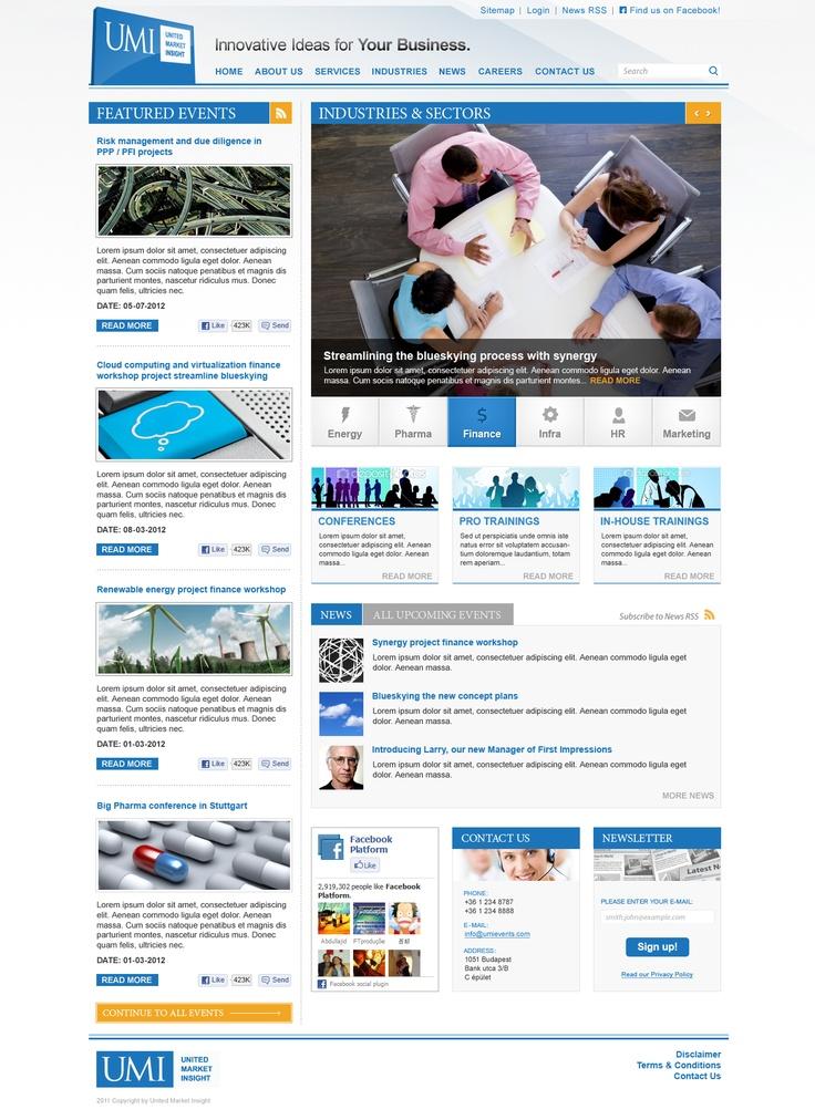Webdesign concepct for UMI Events