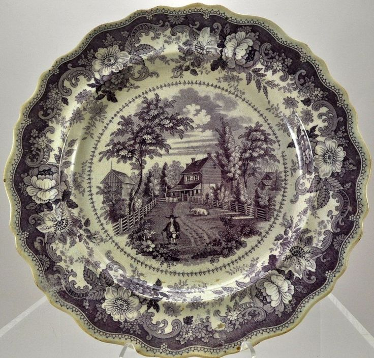 Antique Purple Transfer Historical Staffordshire Plate Residence Richard Jordan in Antiques | eBay