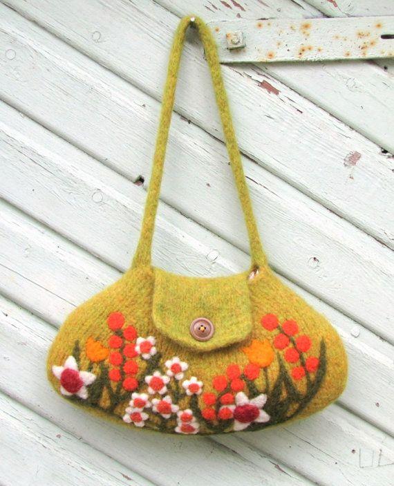 Felted bag purse ochre yellow green wool handbag by HandmadebyMia, $60.00