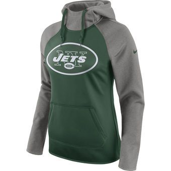 Womenu0027s New York Jets Nike Green/Heathered Gray All Time Raglan Pullover  Performance Hoodie