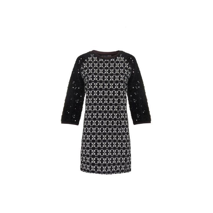 Naughty Dog #FW1415 black & white jacquard #dress.