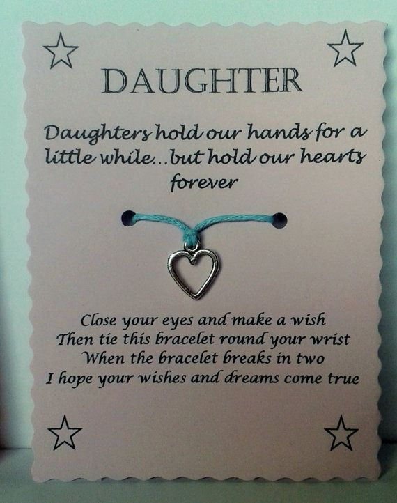 WISH BRACELET DAUGHTER HOLD OUR HEART FOREVER QUOTE CARD VARIOUS COLOURS CHARMS