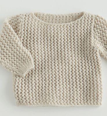 Ça nous ferait plaisir // Modèle pull ajouré layette 49% laine / 9 ou 12 mois / couleur à définir