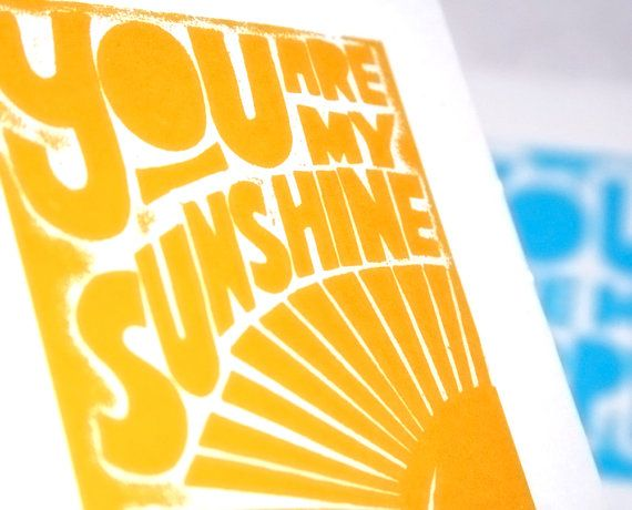Baby Nursery You are my Sunshine Art Print by rawartletterpress, $9.00