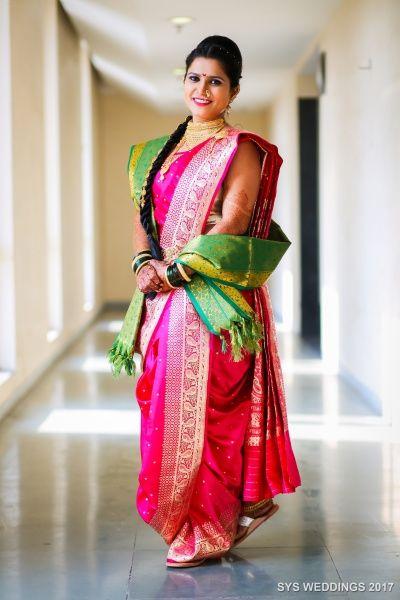 South Indian Bride - Bride in a Beautiful Pink and Green Kanjivaram Saree | WedMeGood #wedmegood #indianbride #indianwedding #bridal #kanjivaramsaree #pink #green