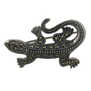 Indian Jewellery A Brooch and Pin Sterling Silver Lizard Marcasite Length 3.81 cm: ShalinCraft: Amazon.co.uk: Jewellery