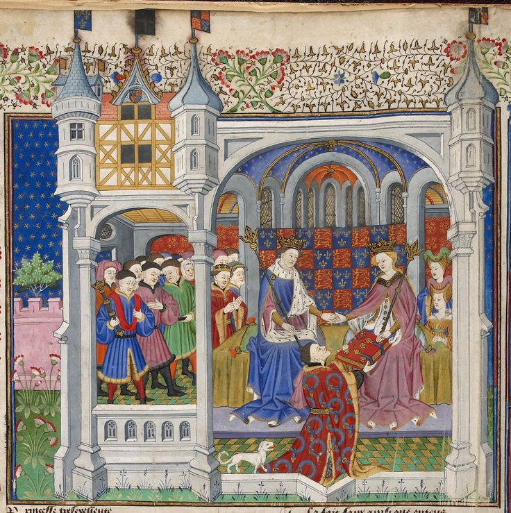 Detail of a miniature of John Talbot, identified by his Talbot dog, presenting the book to queen Margaret, seated in a palace beside king Henry VI, and surrounded by the court, from the Talbot Shrewsbury book, France (Rouen), 1444-1445