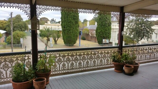 The verandah of The Globe Inn. Beautiful and so quiet and restful!