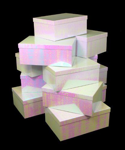 Club pack of white iridescent nested set up gift boxes
