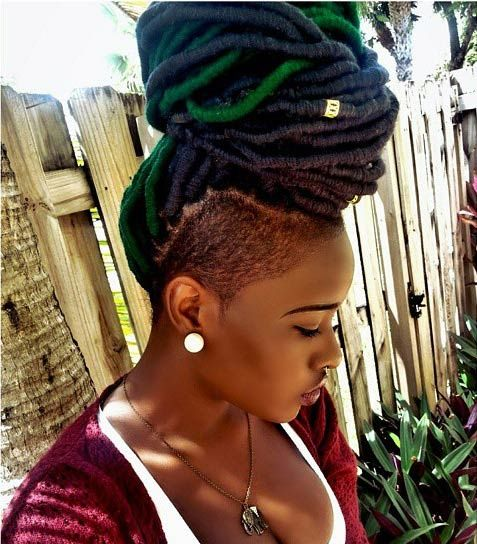 Faux Locs with a Pop of Green
