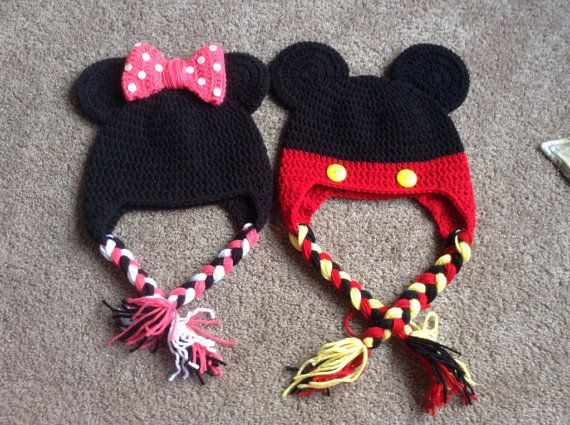 Baby Minnie Mouse, Mickey Mouse, crochet hat, photo prop ...