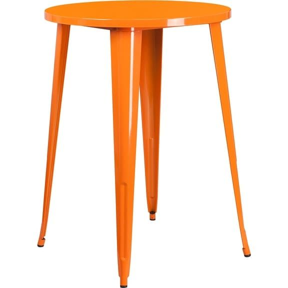 iHome Collins Round 30'' Orange Metal Bar Height Table for Indoor/Outdoor/Patio/Bar/Restaurant, Patio Furniture