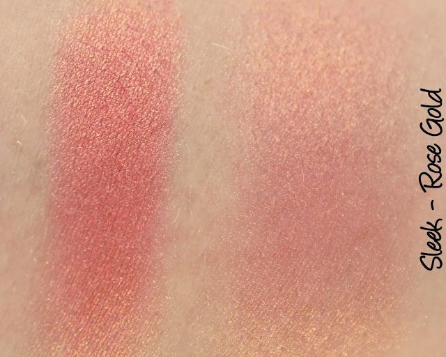 Sleek Rose Gold blush swatches & review
