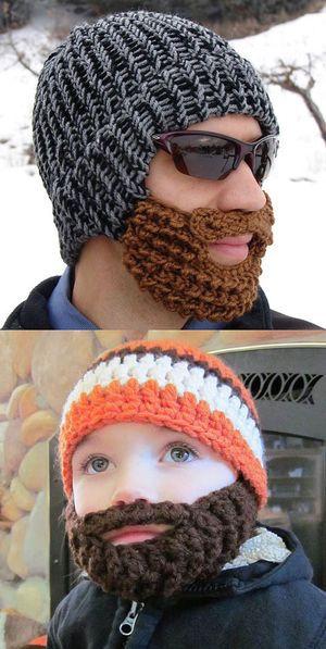 かぎ針編みのおもしろ帽子☆ よくみるとヒゲまで。口元まであったかい帽子♪
