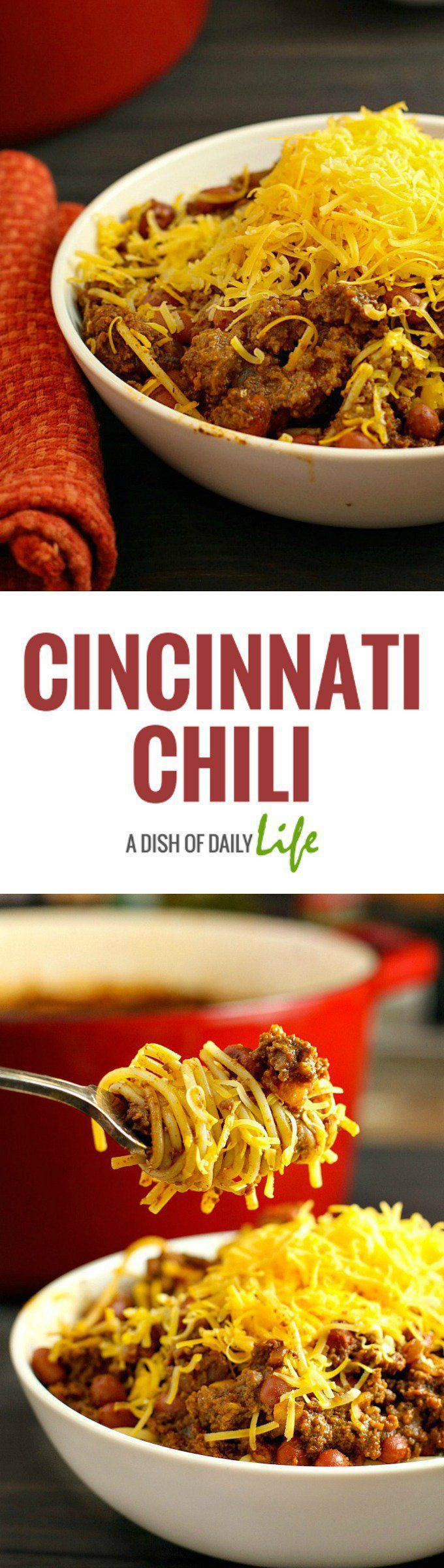 Cincinnati Chili...a delicious chili with a unique spice combination, served over spaghetti and topped with cheese. One of our family favorites!