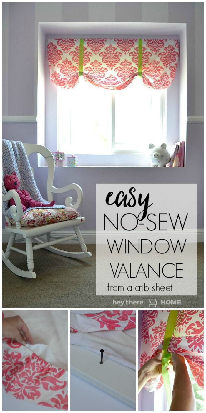 The easiest no-sew window valence ever! This was the perfect addition to a feminine little girl's room.