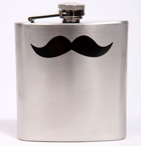 Festival survival: moustached hipflask, £12, Urban Outfitters.