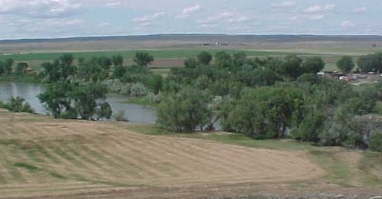 North Platte River as viewed from bluff containing Fort Fetterman