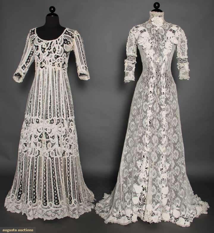 Battenburg Lace Tea Gowns, circa 1910.