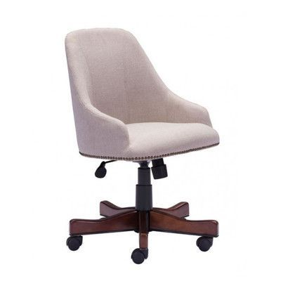 High-Back Leather Office Chair from Wayfair Classic nailhead trim gives this handsome office chair a timeless touch while its neutral-hued upholstery lets it blend effortlessly into any aesthetic. Use it to add a chic touch to the home study or to accent the den in stylish sophistication.