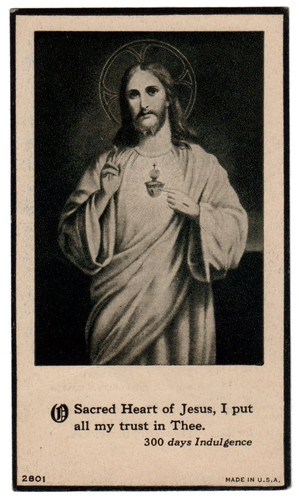 O Sacred Heart of Jesus, I put all my trust in Thee partial indulgence holy card