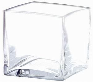 "Clear Glass Cube Vase<br>4"" Wide x 4"" Tall"