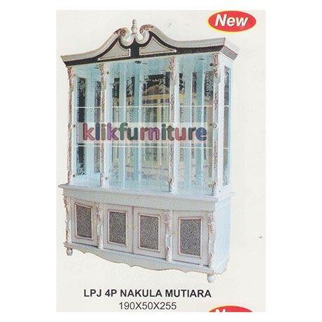 Harga Pajangan 4 Pintu Nakula Mutiara Cms Condition:  New product  Lemari Hias Pajangan Ruang Tamu Kaca 4 Pintu Ukuran Panjang : 190cm, Lebar : 50 cm, Tinggi : 255 cm Finishing Mutiara