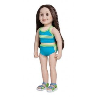 Aqua Marine: Taryn can swim outdoors even when snow covers the ground because the Banff Hot Springs are super warm! Her highly detailed sandals co-ordinate perfectly with her two-piece bathing suit.