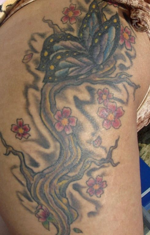 Cherry tree tattoo with colored butterfly - Tattooimages.biz