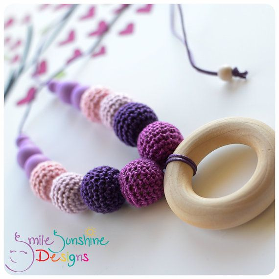 Crocheted Beads and Silicone Beads Teething Necklace and Nursing Necklace - Unique, stylish and sensory overload Smile Sunshine Designs