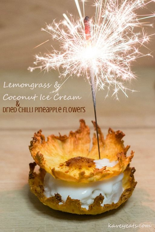 Lemongrass & Coconut Ice Cream with Dried Chilli Pineapple Flowers | Kavey Eats | Two recipes for the lemongrass & coconut ice cream, one of which is vegan + simple instructions on how to make pineapple flower cups