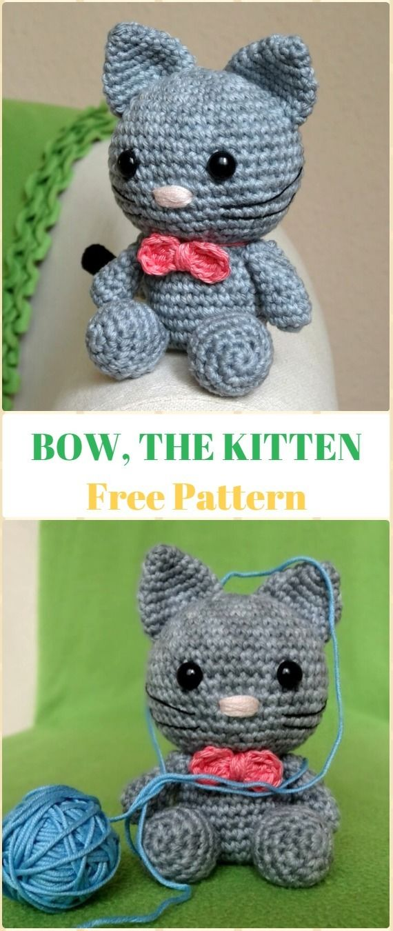 Crochet Amigurumi Bow The Kitten Cat Free Pattern - Crochet Amigurumi Cat Free Patterns