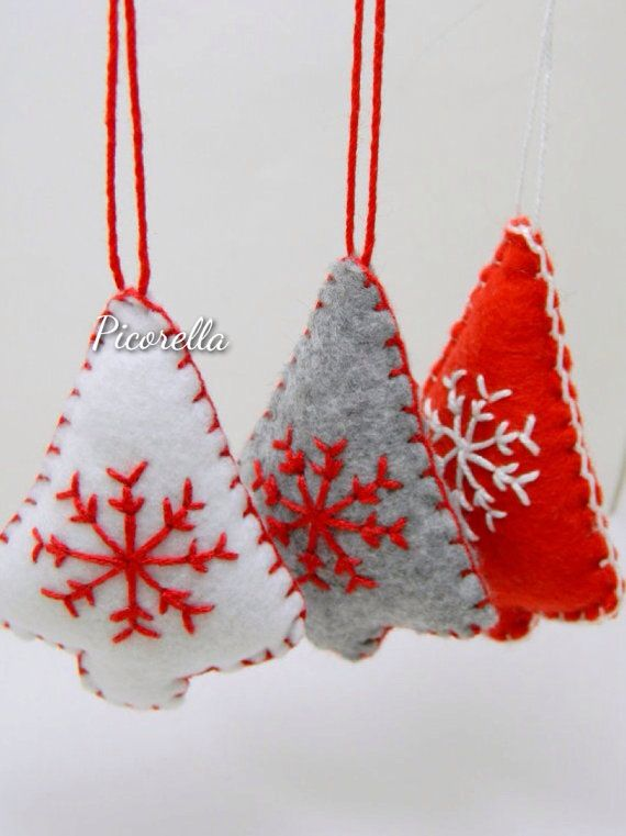 Set of 3 Christmas Tree Ornament // Felt Christmas by Picorella