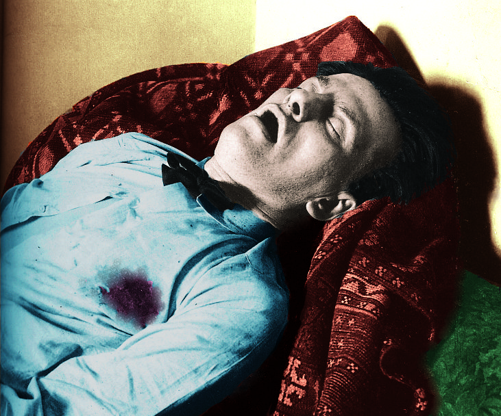 Mayakovsky's blue shirt. Archive photograph digitally coloured by George D. Matthiopoulos