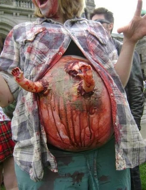Zombie Baby! Pregnant Halloween Costume. Jared would not like this if we were having a baby