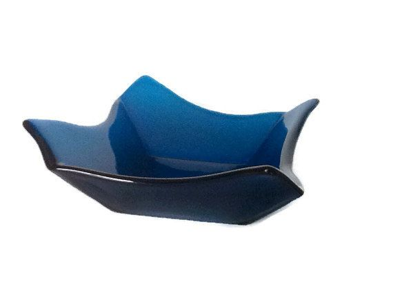 Blue Glass Bowl  Decorative Glass Bowl by chelkay on Etsy, $32.99