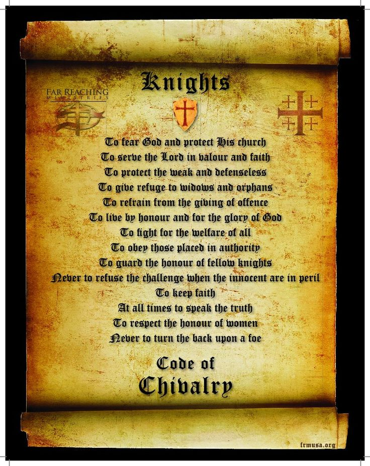 Knights Code id probably change a few things so its not so religion based but yeah i love this